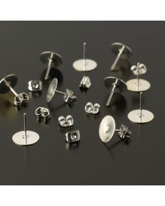 Earring Post with Pad Pack - Silver Plated
